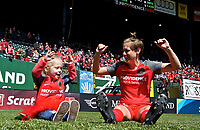 Portland, OR - Saturday April 15, 2017:  Meghan Klingenberg and Mark Parsons' daughter Edie during a regular season National Women's Soccer League (NWSL) match between the Portland Thorns FC and the Orlando Pride at Providence Park.