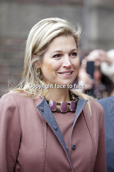 "Princess Maxima received the 1st copy of the book ""A world without (baarmoederhalskanker) cervical cancer"" by Chantal Spieard and Lex Peters at the LUMC in Leiden.Prof. Lex Peters is founder of the female cancer foundation. Chantal Spieard followed Lex Peters for his female cancer foundation work. Leiden, 26.02.2013...Credit: Nieboer/PPE/face to face..- No Rights for Netherlands -"