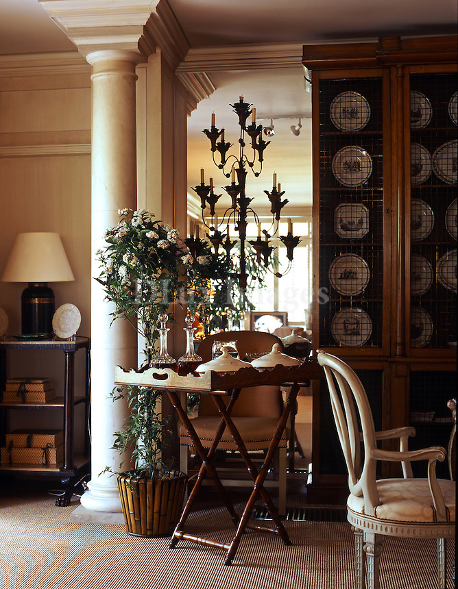 Renowned interior designer Allan Jones spend half of each year in Greece, catering to a very eclectic clientel.  While in Greece, Allan resides in an affluent northern suburb of Athens in a two-story pied-a-terre , which he decorated in his trademark luxe style with antiques and rare works of art.