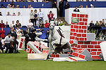 August 08, 2009: Jur Vrieling (NED) is thrown from his mount Pegasus after crashing through the wall. Land Rover International Puissance. Failte Ireland Horse Show. The RDS, Dublin, Ireland.
