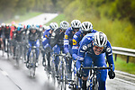 Deceuninck-Quick Step drive the pace on the front of the peloton during a wet miserable 105th edition of Li&egrave;ge-Bastogne-Li&egrave;ge 2019, La Doyenne, running 256km from Liege to Liege, Belgium. 28th April 2019<br /> Picture: ASO/Gautier Demouveaux | Cyclefile<br /> All photos usage must carry mandatory copyright credit (&copy; Cyclefile | ASO/Gautier Demouveaux)