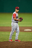 Williamsport Crosscutters relief pitcher Anton Kuznetsov (7) gets ready to deliver a pitch during a game against the Batavia Muckdogs on June 22, 2018 at Dwyer Stadium in Batavia, New York.  Williamsport defeated Batavia 9-7.  (Mike Janes/Four Seam Images)