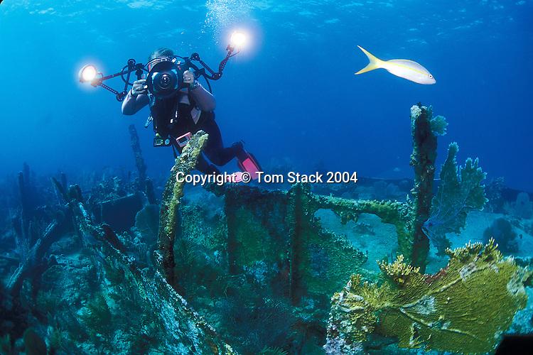 "Underwater photographer at the ""City of Washington"" shipwreck on the Elbow Reef off Key Largo, Florida"