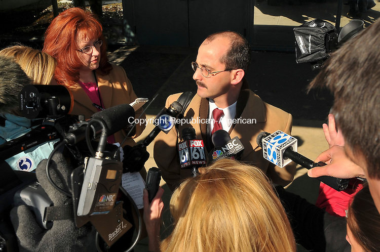 BANTAM, CT-01 February 2010-020110S09-- A. Thomas Waterfall, attorney for actor Elmore &quot;Rip&quot; Torn, speaks to members of the media following his arraignment Bantam Superior Court on Monday. Torn was arrested Friday night after authorities found him inside the Litchfield Bancorp in Salisbury with a loaded revolver. He later posted bail and his case was continued. <br /> Jim Shannon Republican-American