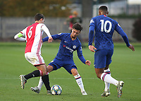 Chelsea's George McEachran tackles Enric Llansana of Ajax during Chelsea Under-19 vs AFC Ajax Under-19, UEFA Youth League Football at the Cobham Training Ground on 5th November 2019