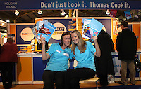 ***NO FEE PIC***.28/01/2011.Denise Mulhall & Michelle Osburne from Thomas Cook. during the Holiday World Show in the RDS which runs from Friday 28th Jan - Sunday 30th Jan, Dublin..Photo: Gareth Chaney Collins