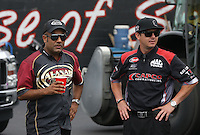 May 11, 2013; Commerce, GA, USA: NHRA top fuel dragster driver Steve Torrence (right) with Khalid Albalooshi during the Southern Nationals at Atlanta Dragway. Mandatory Credit: Mark J. Rebilas-