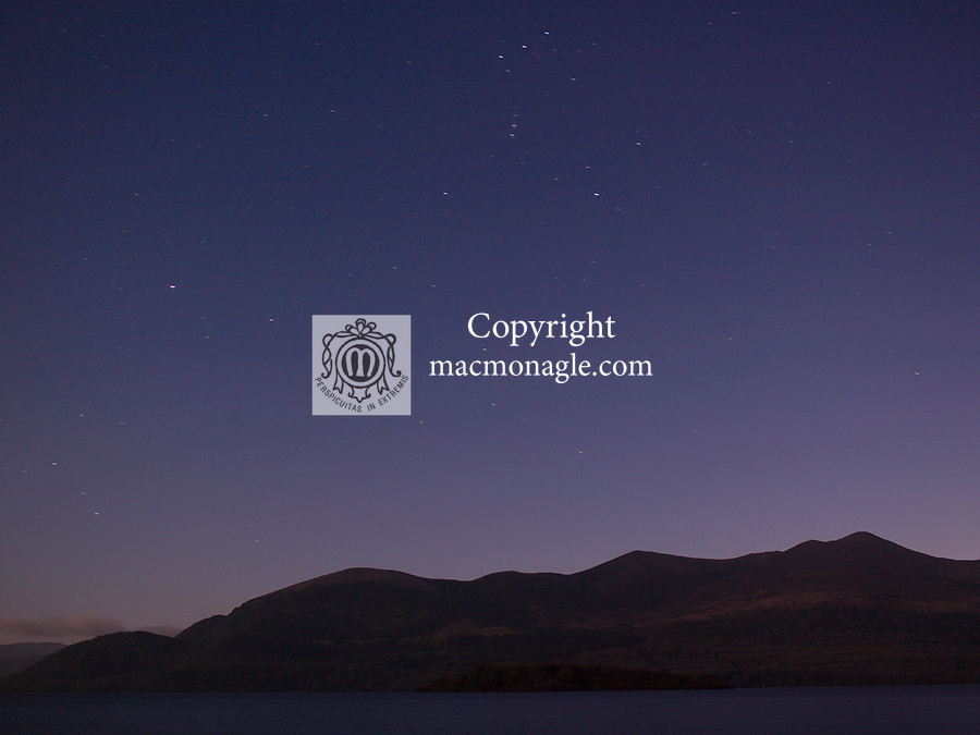 A nocturnal view looking South over Lough Lein Killarney at the weekend showing a clear night sky and the many viewable stars including 'Orion's Belt' at the top of picture.<br /> Picture by Don MacMonagle