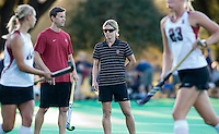 STANFORD CA - September 23, 2011: Assistant Coach Steve Danielson and Head Coach Tara Danielson before the Stanford vs Cal at vs Lehigh field hockey game at the Varsity Field Hockey Turf Friday night at Stanford.<br /> <br /> The Cardinal team defeated the Golden Bears 3-2.