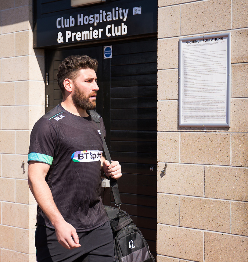 Ospreys' Kieron Fonotia arrives at the stadium<br /> <br /> Photographer Simon King/CameraSport<br /> <br /> Guinness PRO12 Round 19 - Ospreys v Leinster Rugby - Saturday 8th April 2017 - Liberty Stadium - Swansea<br /> <br /> World Copyright &copy; 2017 CameraSport. All rights reserved. 43 Linden Ave. Countesthorpe. Leicester. England. LE8 5PG - Tel: +44 (0) 116 277 4147 - admin@camerasport.com - www.camerasport.com