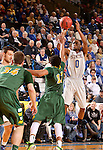 BROOKINGS, SD - FEBRUARY 14:  Deondre Parks #0 from South Dakota State spots up for a three pointer over Evan Wesenberg #32 form North Dakota State in the second half of their game Saturday afternoon at Frost Arena. (Photo by Dave Eggen/Inertia)