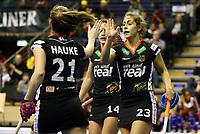 Franziska Hauke, Janne Mueller Wieland, Marie Maevers   celebration    goal / Sport / Hockey Hnhockey / World Championships Weltmeisterschaft Damen /  2017/2018 / 07.02.2018 / GER BRGermany vs. Namibia  *** Local Caption *** © pixathlon<br /> Contact: +49-40-22 63 02 60 , info@pixathlon.de