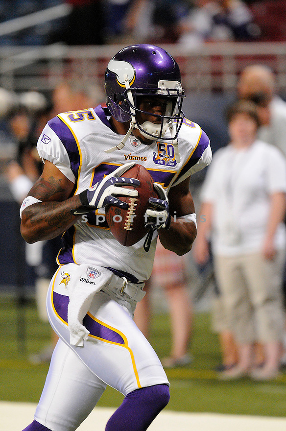 TAYE BIDDLE of the Minnesota Vikings ,in action during the Vikings  game against the  St. Louis Rams at Edward Jones Dome in St. Louis Missouri on August14, 2010.  The Vikings won the game 28-17..