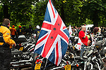 LONDON, ENGLAND, 22 May ,2014.  A motorcylce displaying a flag of rememberance as bikers gather at Greenwich Park to mark the first anniversary of the murder of Fusilier Lee Rigby near his Woolwich barracks.
