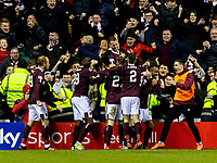3rd March 2020; Easter Road, Edinburgh, Scotland; Scottish Premiership Football, Hibernian versus Heart of Midlothian; Oliver Bozanic of Hearts celebrates after scoring Hearts second goal in front of Hearts fans