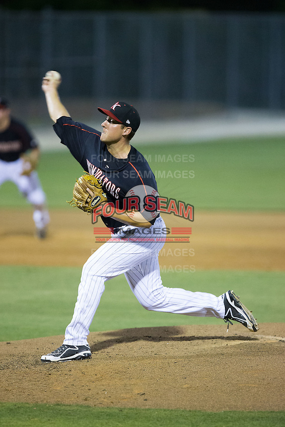 Kannapolis Intimidators relief pitcher Brad Salgado (22) in action against the Greensboro Grasshoppers at CMC-Northeast Stadium on June 11, 2015 in Kannapolis, North Carolina.  The Intimidators defeated the Grasshoppers 7-6.  (Brian Westerholt/Four Seam Images)