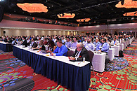 The audience at a large conference at The New York Marriott Marquis .