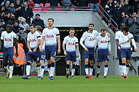 Christian Eriksen of Tottenham Hotspur is congratulated after scoring the second goal during Tottenham Hotspur vs Leicester City, Premier League Football at Wembley Stadium on 10th February 2019