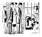 (An angry queue builds up outside a telephone box as the caller passes the phone to her dog)