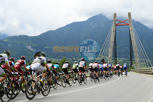 The peleton in action during Stage 5 of the 2018 Criterium du Dauphine 2018 running 130km from Grenoble to Valmorel, France. 8th June 2018.<br /> Picture: ASO/Alex Broadway | Cyclefile<br /> <br /> <br /> All photos usage must carry mandatory copyright credit (© Cyclefile | ASO/Alex Broadway)