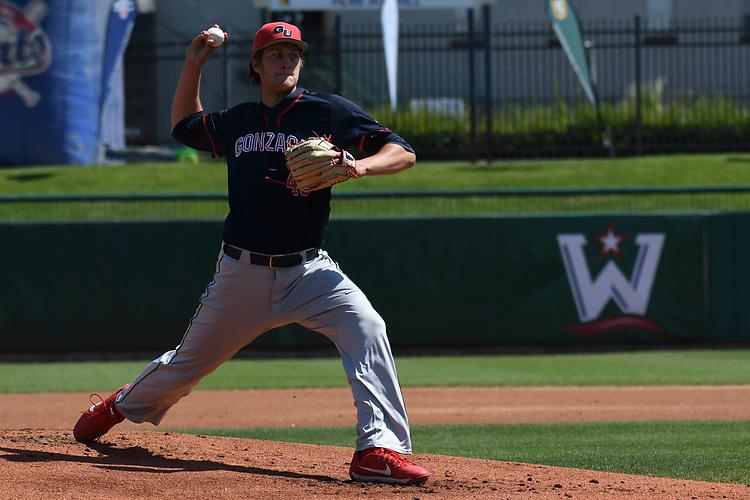 May 27, 2017; Stockton, CA, USA; Gonzaga Bulldogs pitcher Daniel Bies during the WCC Baseball Championship at Banner Island Ballpark.