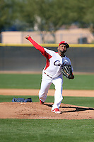 Odrisamer Despaigne, recently defected from Cuba, works out for scouts and team officials at the Padres training complex on February 13, 2014 in Peoria, Arizona (Bill Mitchell)