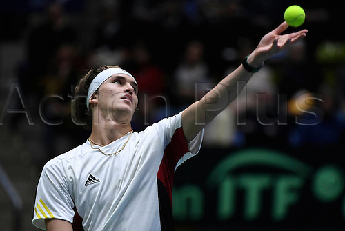 5th February 2017, Fraport Arena, Frankfurt, Germany; Davis Cup World Group 1st Round; Germany versus Belgium; Alexander Zverev of Germany against Steve Darcis of Belgium; Belgium won the match 4-1 to progress to the next round