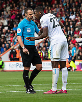Referee Stuart Attwell (left) has a word with West Ham United's Issa Diop (right) <br /> <br /> Photographer David Horton/CameraSport<br /> <br /> The Premier League - Bournemouth v West Ham United - Saturday 28th September 2019 - Vitality Stadium - Bournemouth<br /> <br /> World Copyright © 2019 CameraSport. All rights reserved. 43 Linden Ave. Countesthorpe. Leicester. England. LE8 5PG - Tel: +44 (0) 116 277 4147 - admin@camerasport.com - www.camerasport.com