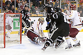 Matt Bergland (PC - 17), Parker Milner (BC - 35), Damian Cross (PC - 9), [19[, Patch Alber (BC - 3) - The Boston College Eagles defeated the Providence College Friars 4-2 in their Hockey East semi-final on Friday, March 16, 2012, at TD Garden in Boston, Massachusetts.