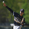 Mike Ahearne #14, Baldwin pitcher, throws a change up in the top of the third inning of a Nassau County varsity baseball game against host Plainview JFK High School on Monday, May 8, 2017. He went 6 2/3 innings and was the winning pitcher of record in Baldwin's 8-3 victory.