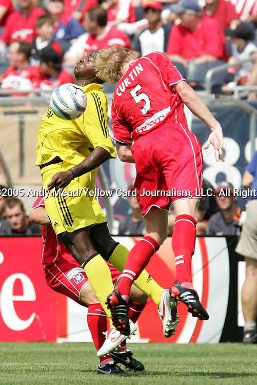 16 July 2005: Knox Cameron (l) and Jim Curtin (5) challenge for a header. The Chicago Fire and Columbus Crew tied 1-1 at Soldier Field in Chicago, Illinois in a regular season Major League Soccer game.