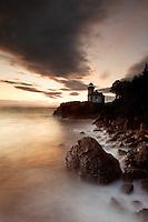 Lime Kiln Point Lighthouse and rocky shoreline, Lime Kiln Point State Park, San Juan Island, Washington, USA