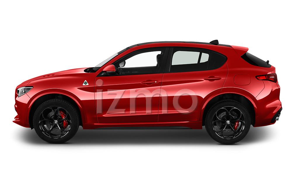 Car Driver side profile view of a 2019 Alfaromeo Stelvio-Quadrifoglio - 5 Door SUV Side View