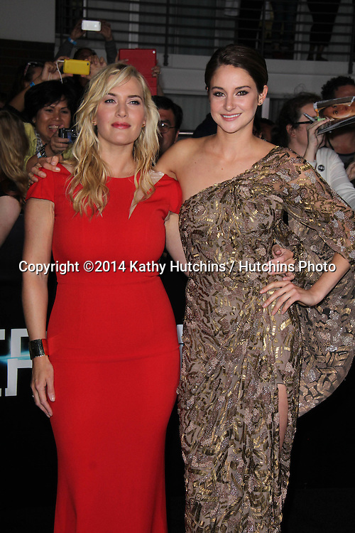 "LOS ANGELES - MAR 18:  Kate Winslet, Shailene Woodley at the ""Divergent"" Los Angeles Premiere at Bruin Theater on March 18, 2014 in Westwood, CA"