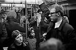 London underground tube train 1970. Crowded tube train commuters.
