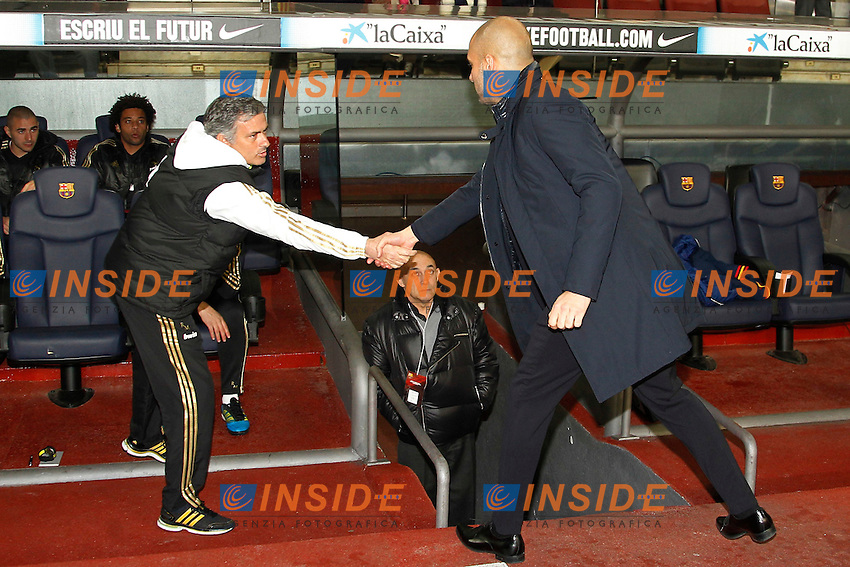 Barcelona's Josep Guardiola and Real Madrid's Jose Mourinho during Spain's Kings Cup on January 25th 2012Barcellona Real Madrid 2-2  Coppa del Re .foto Insidefoto / Cesar Cebolla / Alterphotos .Italy Only