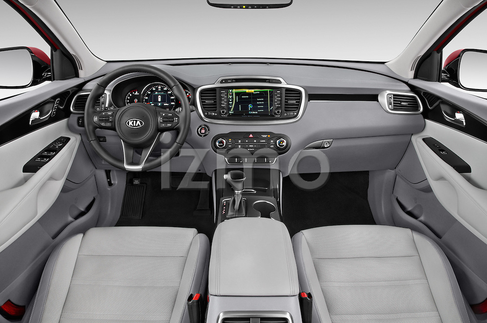 Stock photo of straight dashboard view of a 2016 KIA Sorento SX AT 5 Door SUV Dashboard