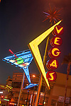 """Cocktail glass (martini glass) and """"Vegas"""" signs, Neon from the Neon Museum near Fremont Street at night, Las Vegas"""