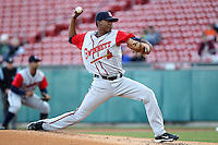 Gwinnett Braves starting pitcher Julio Teheran #27 during a game against the Buffalo Bisons at Coca-Cola Field on May 17, 2012 in Buffalo, New York.  Buffalo defeated Gwinnett 4-2.  (Mike Janes/Four Seam Images)