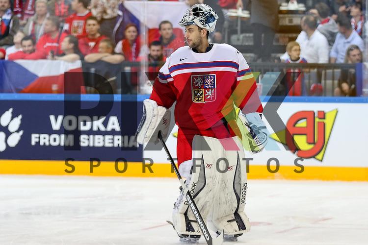 Tschechiens Pavelec, Ondrej (Nr.31)(Winnipeg Jets)  im Spiel IIHF WC15 Czech Republic vs. Finland.<br /> <br /> Foto &copy; P-I-X.org *** Foto ist honorarpflichtig! *** Auf Anfrage in hoeherer Qualitaet/Aufloesung. Belegexemplar erbeten. Veroeffentlichung ausschliesslich fuer journalistisch-publizistische Zwecke. For editorial use only.