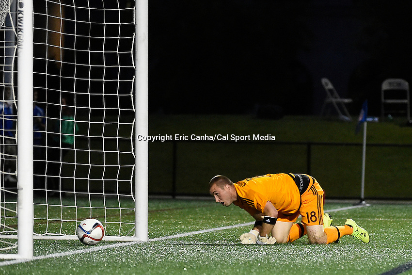 June 17, 2015 - Boston, Massachusetts, U.S. - New England Revolution goalkeeper Brad Knighton (18) looks back at the ball that got by him during the US Open Cup fourth round between the New England Revolution and the Charlotte Independence held at Harvard's Soldiers Field Soccer Stadium. The Independence defeated the Revolution 1-0.  Eric Canha/CSM