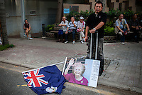 Hong Kong, 1 July, 2012..Very big handover demonstration with possibly 400.000 demonstrators airing their grievances against the new Chief Executive Leung Chun-ying. This was the 15th year and one of the biggest. CY Leung was sworn in in the morning and is facing a huge number of problems: expensive housing, widening gap between rich and poor, Beijing interference etc. etc. De former colonial flag of Hong Kong was also shown...Zeer grote anti overheidsdemonstratie gedurende de 15 jaar handoverherdenking van Hong Kong naar China. De coloniale vlag van Hong Kong werd zelfs getoond en fotos van Maggie Thatcher als de verrader van Hong Kong...Photo Kees Metselaar.