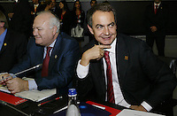 Span Primer Minister José Luis Rodrigues Zapatero (R) during a European Union summit 18 October 2007, in Lisbon.