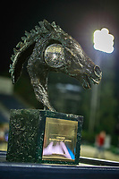 The Nations Cup Trophy standing proud center stage during the Longines FEI Nations Cup Jumping Final. 2017 ESP-Longines FEI Nations Cup Jumping Final - CSIO Barcelona. Real Club de Polo de Barcelona. Saturday 30 September. Copyright Photo: Libby Law Photography