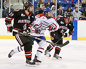 Rob Dongara (Northeastern - 39), Colin Wright (Lowell - 8), Mike McLaughlin (Northeastern - 18) - The visiting Northeastern University Huskies defeated the University of Massachusetts-Lowell River Hawks 3-2 with 14 seconds remaining in overtime on Friday, February 11, 2011, at Tsongas Arena in Lowelll, Massachusetts.