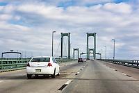 Heavy traffic crossing the Delaware Memorial Bridge, Delaware, USA