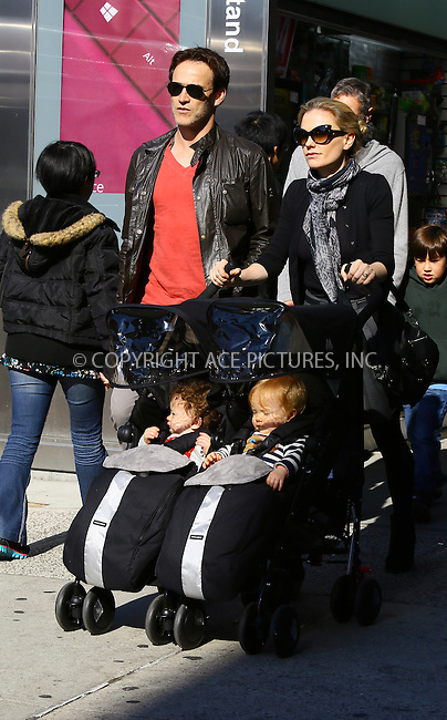 WWW.ACEPIXS.COM<br /> <br /> November 2 2013, New York City<br /> <br /> Actress Anna Paquin walks with her husband actor Stephen Moyer and her twins Charlie and Poppy in the East Village on November 2 2013 in New York City<br /> <br /> By Line: Philip Vaughan/ACE Pictures<br /> <br /> ACE Pictures, Inc.<br /> tel: 646 769 0430<br /> Email: info@acepixs.com<br /> www.acepixs.com