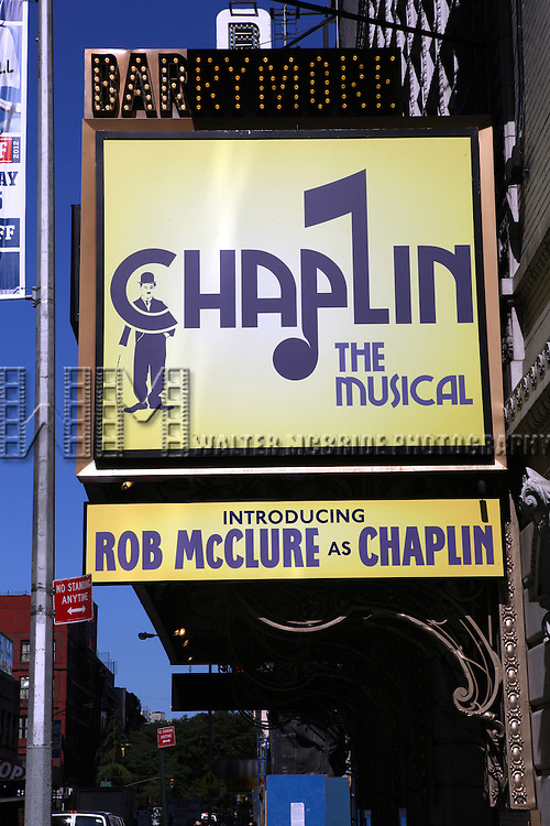 'Chaplin - The Musical'  (Theatre Marquee) starring Rob McClure at the Barrymore Theatre in New York, NY on September 14, 2012.From the slums of London to the heights of Hollywood, Chaplin is the showbiz Broadway musical about the silent film legend the world couldn't stop talking about - Charlie Chaplin. This brand new musical reveals the man behind the legend, the undeniable genius that forever changed the way America went to the movies.