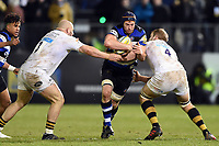 Paul Grant of Bath Rugby takes on the Wasps defence. Aviva Premiership match, between Bath Rugby and Wasps on December 29, 2017 at the Recreation Ground in Bath, England. Photo by: Patrick Khachfe / Onside Images