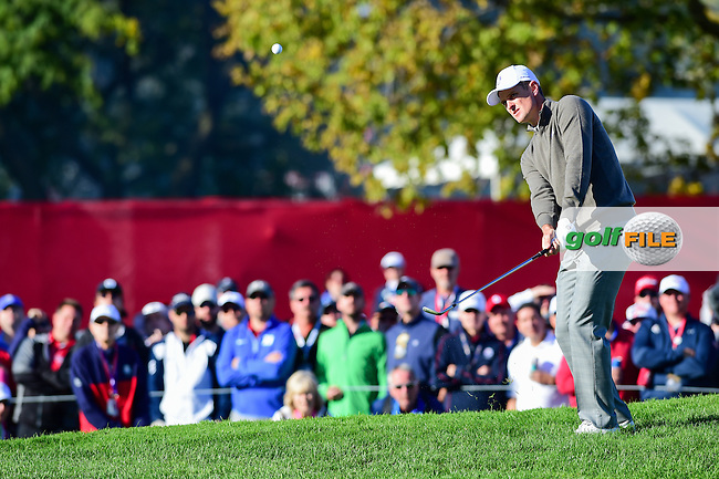 Chris Wood (ENG) chips on to 8 during the Saturday morning foursomes at the Ryder Cup, Hazeltine National Golf Club, Chaska, Minnesota, USA.  10/1/2016<br /> Picture: Golffile | Ken Murray<br /> <br /> <br /> All photo usage must carry mandatory copyright credit (&copy; Golffile | Ken Murray)